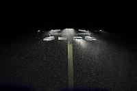 Rain falls around the lights during a Dunedin Blue Jays game against the Bradenton Marauders on June 5, 2021 at TD Ballpark in Dunedin, Florida.  (Mike Janes/Four Seam Images)