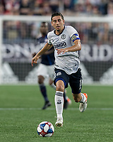 FOXBOROUGH, MA - JUNE 27: Alejandro Bedoya #11 on the attack during a game between Philadelphia Union and New England Revolution at Gillette Stadium on June 27, 2019 in Foxborough, Massachusetts.