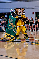 12 March 2019: University of Vermont Mascot Rally Cat entertains the fans prior to tip-off against the Binghamton University Bearcats at Patrick Gymnasium in Burlington, Vermont. The top-seeded Catamounts advanced to their fourth-straight America East conference championship game, defeating the Bearcats 84-51. Mandatory Credit: Ed Wolfstein Photo *** RAW (NEF) Image File Available ***