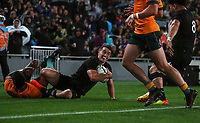 NZ's Will Jordan scores during the Bledisloe Cup rugby match between the New Zealand All Blacks and Australia Wallabies at Eden Park in Auckland, New Zealand on Saturday, 14 August 2021. Photo: Simon Watts / lintottphoto.co.nz / bwmedia.co.nz