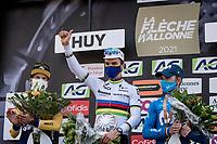 World Champion Julian Alaphilippe (FRA/Deceuninck - QuickStep) wins his 3rd Fléche<br /> Primoz Roglic (SVN/Jumbo-Visma) finishes 2nd & Alejandro Valverde (ESP/Movistar) 3rd<br /> <br /> <br /> 85th La Flèche Wallonne 2021 (1.UWT)<br /> 1 day race from Charleroi to the Mur de Huy (BEL): 194km<br /> <br /> ©kramon