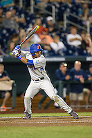 Florida Gators shortstop Richie Martin (12) at bat during the NCAA College baseball World Series against the Virginia Cavaliers on June 15, 2015 at TD Ameritrade Park in Omaha, Nebraska. Virginia defeated Florida 1-0. (Andrew Woolley/Four Seam Images)