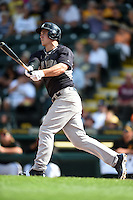New York Yankees outfielder Tyler Austin (79) hits a home run during a Spring Training game against the Pittsburgh Pirates on March 5, 2015 at McKechnie Field in Bradenton, Florida.  New York defeated Pittsburgh 2-1.  (Mike Janes/Four Seam Images)