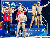Celebration Montenegro<br />  <br /> Budapest 26/01/2020 Duna Arena <br /> Montenegro (white caps) Vs. Croatia (blue caps) Men<br /> Final<br /> XXXIV LEN European Water Polo Championships 2020<br /> Photo  ©Giorgio Scala / Deepbluemedia / Insidefoto