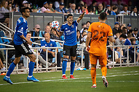 SAN JOSE, CA - JULY 24: Luciano Abecasis #2 of the San Jose Earthquakes prepares for a throw-in during a game between San Jose Earthquakes and Houston Dynamo at PayPal Park on July 24, 2021 in San Jose, California.