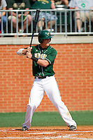 Justin Seager #10 of the Charlotte 49ers at bat against the Missouri Tigers at Robert and Mariam Hayes Stadium on February 27, 2011 in Charlotte, North Carolina.  Photo by Brian Westerholt / Four Seam Images