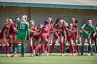STANFORD, CA - SEPTEMBER 12: Naomi Girma and team before a game between Loyola Marymount University and Stanford University at Cagan Stadium on September 12, 2021 in Stanford, California.