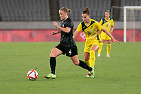 21st July 2021. Tokyo, Japan; CJ Bott 4 from New Zealand and Steph Catley 7 from Australia during the opening Australia v New Zealand soccer game at the 2021 Tokyo Olympic Games held in Tokyo, Japan.