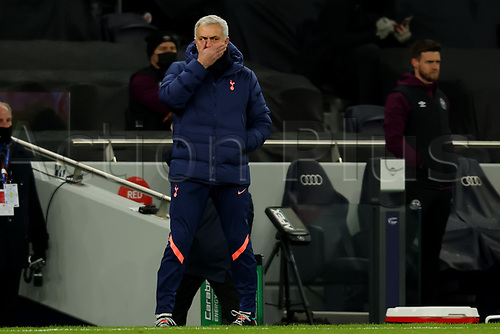 5th January 2021; Tottenham Hotspur Stadium, London, England; English Football League Cup Football, Carabao Cup, Tottenham Hotspur versus Brentford; Tottenham Hotspur Manager Jose Mourinho watches play as his team take control of the game