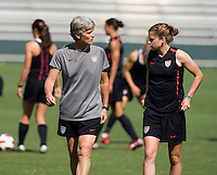 Pia Sundhage, Sinead Farrelly. The USWNT practice at WakeMed Soccer Park in preparation for their game with Japan.
