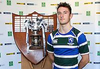 SCHOOLS CUP DRAW 2016 | Monday 16th November 2015<br /> <br /> Grosvenor captain - Ulster Schools Cup draw at Kingspan Stadium, Ravenhill Park, Belfast, Northern Ireland.<br /> <br /> Photo credit: John Dickson / DICKSONDIGITAL