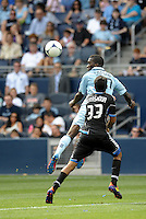 Kansas City forward C.J Sapong (17) the ball... Sporting Kansas City defeated San Jose Earthquakes 2-1 at LIVESTRONG Sporting Park, Kansas City, Kansas.