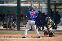 Chicago Cubs third baseman Jesse Hodges (19) at bat during a Minor League Spring Training game against the Oakland Athletics at Sloan Park on March 13, 2018 in Mesa, Arizona. (Zachary Lucy/Four Seam Images)