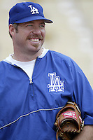 Paul Shuey of the Los Angeles Dodgers before a 2002 MLB season game at Dodger Stadium, in Los Angeles, California. (Larry Goren/Four Seam Images)