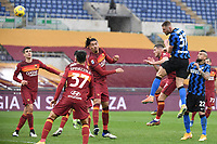 Milan Skriniar of Inter scores the 1-1 goal during the Serie A football match between AS Roma and FC Internazionale at Olimpico stadium in Roma (Italy), January 10th, 2021. Photo Andrea Staccioli / Insidefoto