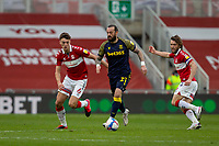 13th March 2021; Riverside Stadium, Middlesbrough, Cleveland, England; English Football League Championship Football, Middlesbrough versus Stoke City; Steven Fletcher of Stoke City retains possession under pressure from Dael Fry of Middlesbrough
