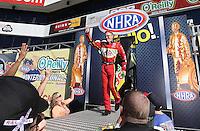 Feb. 17, 2013; Pomona, CA, USA; NHRA top fuel dragster driver Doug Kalitta during the Winternationals at Auto Club Raceway at Pomona. Mandatory Credit: Mark J. Rebilas-