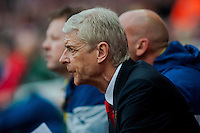 LONDON, ENGLAND - MAY 11 Manager of Arsenal, Arsene Wenger looks on during  to the Premier League match between Arsenal and Swansea City at Emirates Stadium on May 11, 2015 in London, England.  (Photo by Athena Pictures/Getty Images)