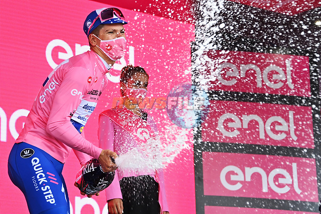 Race leader Joao Almeida (POR) Deceuninck-Quick Step retains the Maglia Rosa at the end of Stage 4 of the 103rd edition of the Giro d'Italia 2020 running 140km from Catania to Villafranca Tirrena, Sicily, Italy. 6th October 2020.  <br /> Picture: LaPresse/Gian Mattia D'Alberto | Cyclefile<br /> <br /> All photos usage must carry mandatory copyright credit (© Cyclefile | LaPresse/Gian Mattia D'Alberto)
