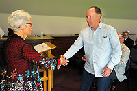 Mark Heissenbuttel (right) with Trish McKelvey. Cricket Wellington membership badge presentations in the Long Room at the Basin Reserve in Wellington, New Zealand on Saturday, 14 November 2020. Photo: Dave Lintott / lintottphoto.co.nz