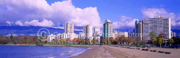"Vancouver, BC, British Columbia, Canada - City Skyline, ""English Bay"" Beach, ""West End"" Highrise Buildings, North Shore Mountains (Coast Mountains), Autumn / Fall - Panoramic View"
