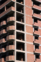 Exterior view of apartment buildings under construction, Aswan, Egypt.