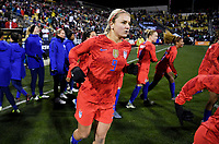COLUMBUS, OH - NOVEMBER 07: Lindsey Horan #9 of the United States heads out onto the field during a game between Sweden and USWNT at MAPFRE Stadium on November 07, 2019 in Columbus, Ohio.