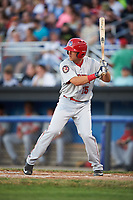 Auburn Doubledays pinch hitter Kameron Esthay (15) at bat during a game against the Batavia Muckdogs on July 4, 2017 at Dwyer Stadium in Batavia, New York.  Batavia defeated Auburn 3-2.  (Mike Janes/Four Seam Images)