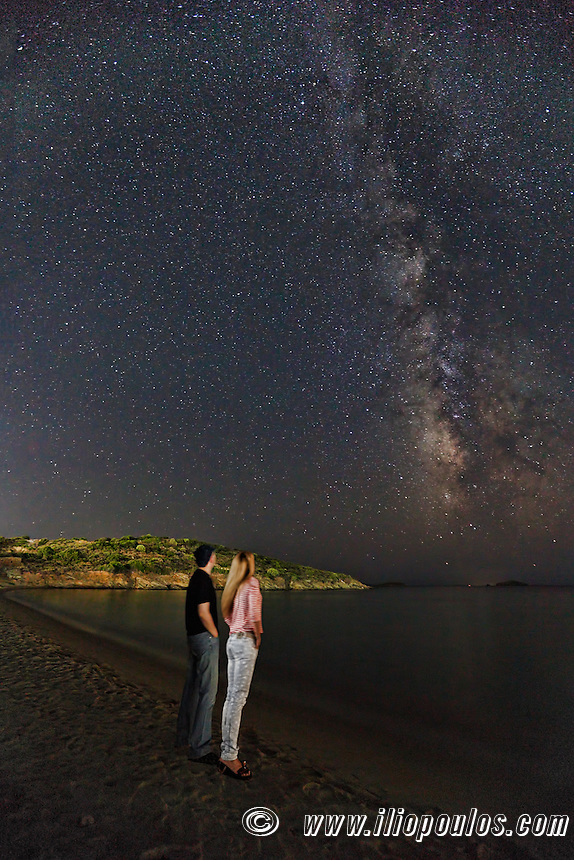 A couple looking at the Milky Way