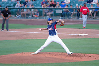 Dean Kremer (17) of the Rancho Cucamonga Quakes delivers a pitch to the plate against the North Division during the 2018 California League All-Star Game at The Hangar on June 19, 2018 in Lancaster, California. The North All-Stars defeated the South All-Stars 8-1.  (Donn Parris/Four Seam Images)