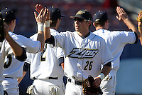 Akron Zips outfielder Jared Turocy #26 during a game vs the Michigan State Spartans at Chain of Lakes Park in Winter Haven, Florida;  March 12, 2011.  Michigan State defeated Akron 5-1.  Photo By Mike Janes/Four Seam Images