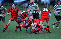 Action from the Wellington Under-85kg club rugby union match between Poneke and Old Boys University Scallywags at Kilbirnie Park in Wellington, New Zealand on Saturday, 4 July 2020. Photo: Dave Lintott / lintottphoto.co.nz