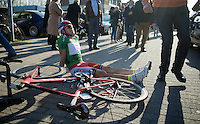 Anton Vorobyev (RUS/Katusha) had to sit down to recuperate after the stage. Apparently he needed to dig deep to defend his 2nd place overall.<br /> <br /> 3 Days of West-Flanders 2015<br /> stage 2: Nieuwpoort - Ichtegem 184km