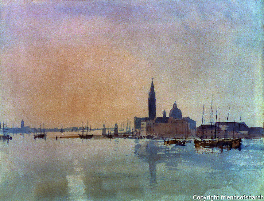 "Venice:  ""St. Giorgio Maggiore  from the Dogana"" (1819) by J.M. W. Turner.  The Tate Gallery, London.  Reference only."