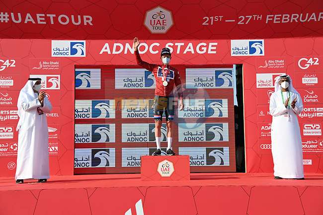 Mathieu van der Poel (NED) Alpecin-Fenix wins Stage 1 and wears the first leaders Red Jersey of the 2021 UAE Tour the ADNOC Stage running 176km from Al Dhafra Castle to Al Mirfa, Abu Dhabi, UAE. 21st February 2021.  <br /> Picture: LaPresse/Gian Mattia D'Alberto | Cyclefile<br /> <br /> All photos usage must carry mandatory copyright credit (© Cyclefile | LaPresse/Gian Mattia D'Alberto)