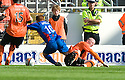 22/08/2010   Copyright  Pic : James Stewart.sct_jsp013_dundee_utd_v_ict  .:: GARRY KENNETH PULLS DOWN ADAM ROONEY FOR THE PENALTY :: .James Stewart Photography 19 Carronlea Drive, Falkirk. FK2 8DN      Vat Reg No. 607 6932 25.Telephone      : +44 (0)1324 570291 .Mobile              : +44 (0)7721 416997.E-mail  :  jim@jspa.co.uk.If you require further information then contact Jim Stewart on any of the numbers above.........