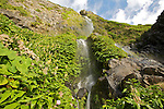 Waterfall of Faja grande (100 m) on the west coast of Flores island..