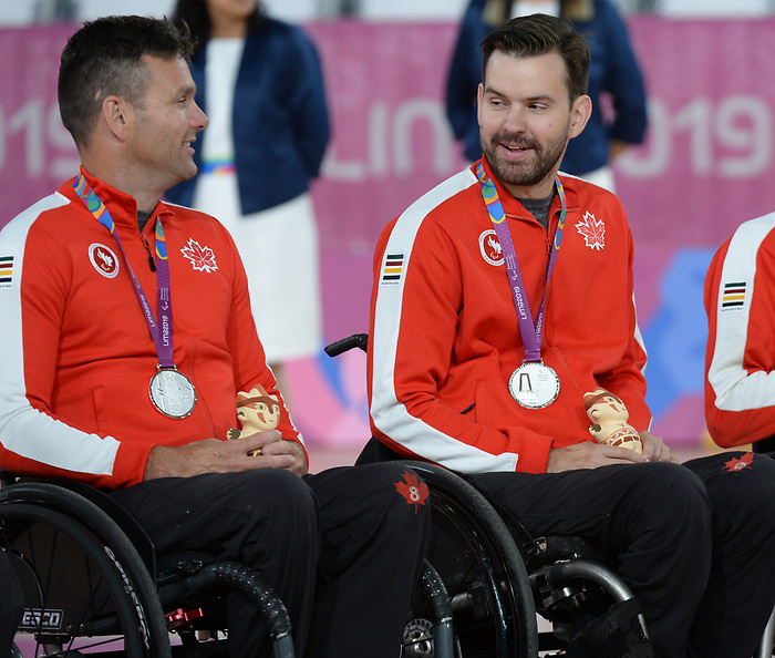 Mike Whitehead and Cody Caldwell, Lima 2019 - Wheelchair Rugby // Rugby en fauteuil roulant.<br /> Canada takes on the USA in wheelchair rugby // Le Canada affronte les États-Unis au rugby en fauteuil roulant. 27/08/2019.