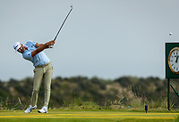 150719 | The 148th Open - Monday Practice<br /> <br /> Dustin Johnson of USA tees off on the 17th during practice for the 148th Open Championship at Royal Portrush Golf Club, County Antrim, Northern Ireland. Photo by John Dickson - DICKSONDIGITAL