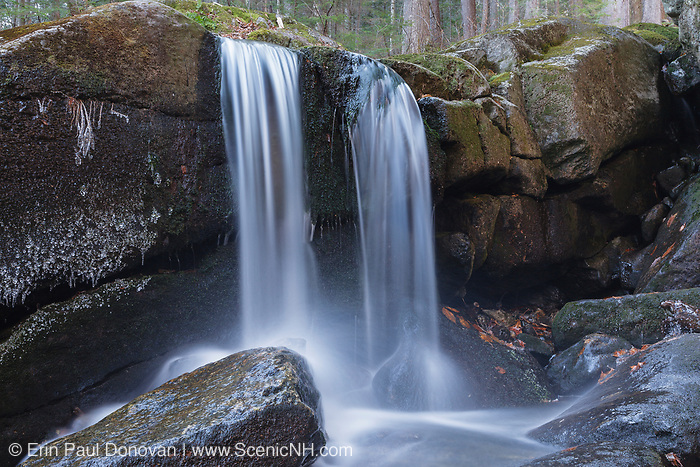 Evans Falls on Townline Brook in the White Mountains, New Hampshire. Located near Dolly Copp Road, this waterfall is one of three waterfalls on Townline Brook, and as a group they are known as Triple Falls.