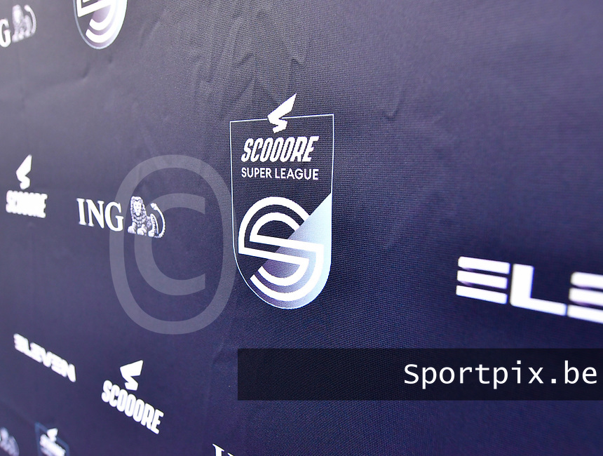 illustration picture showing the super league banner with the Scooore Super League logo on it during a female soccer game between Club Brugge Dames YLA and Zulte Waregem Ladies on the third matchday of the 2020 - 2021 season of Belgian Scooore Womens Super League , saturday 3 October 2020  in Brugge , Belgium . PHOTO SPORTPIX.BE | SPP | DAVID CATRY