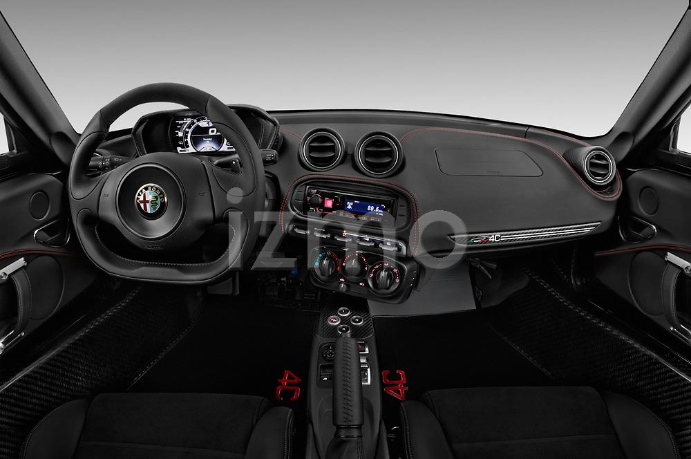Stock photo of straight dashboard view of 2018 Alfa Romeo 4C Base 2 Door Coupe