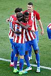 Atletico de Madrid's Yannick Ferreira Carrasco, Filipe Luis, Thomas Partey and Lucas Hernandez celebrate goal during La Liga match. April 15,2017. (ALTERPHOTOS/Acero)