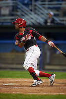 Batavia Muckdogs second baseman Giovanny Alfonzo (8) at bat during a game against the Auburn Doubledays July 8, 2015 at Dwyer Stadium in Batavia, New York.  Batavia defeated Auburn 4-1.  (Mike Janes/Four Seam Images)