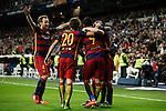 Barcelona´s players celebrate Neymar Jr´s goal during 2015-16 La Liga match between Real Madrid and Barcelona at Santiago Bernabeu stadium in Madrid, Spain. November 21, 2015. (ALTERPHOTOS/Victor Blanco)