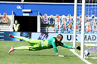 24th April 2021; The Kiyan Prince Foundation Stadium, London, England; English Football League Championship Football, Queen Park Rangers versus Norwich; Seny Dieng of Queens Park Rangers cannot keep out the shot by Xavi Quintilla of Norwich City for 0-1 in the 32nd minute