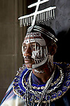 Preview of a student fashion show which has costumes themed by fairy tales and legends of Japan, Masai warriors of Africa and magical realism of Mexico...Pictured:Francis Frimpong wearing a design by Stacy Jansen..(c) Malcolm McCurrach | New Wave Images UK