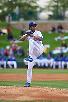 South Bend Cubs starting pitcher Eury Ramos (8) during a Midwest League game against the Cedar Rapids Kernels at Four Winds Field on May 8, 2019 in South Bend, Indiana. South Bend defeated Cedar Rapids 2-1. (Zachary Lucy/Four Seam Images)