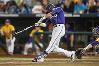 TCU Horned Frogs outfielder Dane Steinhagen (10) swings the bat against the LSU Tigers in Game 10 of the NCAA College World Series on June 18, 2015 at TD Ameritrade Park in Omaha, Nebraska. TCU defeated the Tigers 8-4, eliminating LSU from the tournament. (Andrew Woolley/Four Seam Images)
