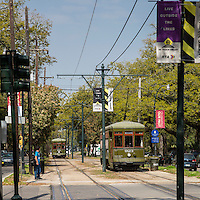 New Orleans, Louisiana.  St. Charles Street Trolley, Uptown District.